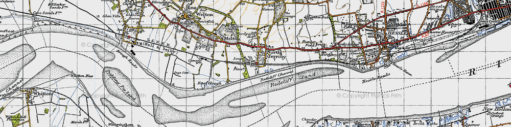 Old map of North Ferriby in 1947