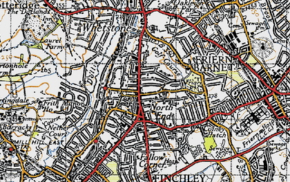 Old map of North Finchley in 1945