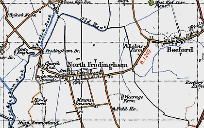 Old map of North Frodingham in 1947