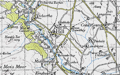 Old map of North Hill in 1946