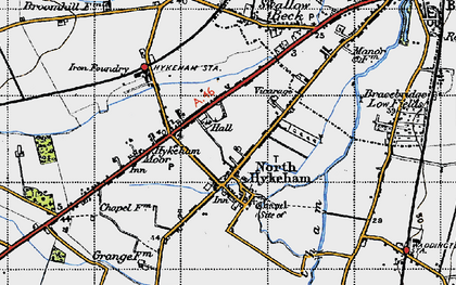 Old map of North Hykeham in 1947