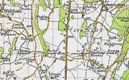 Old map of Yockletts Banks in 1947
