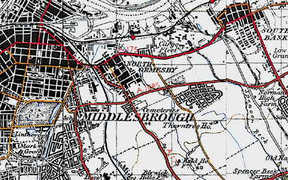 Old map of North Ormesby in 1947