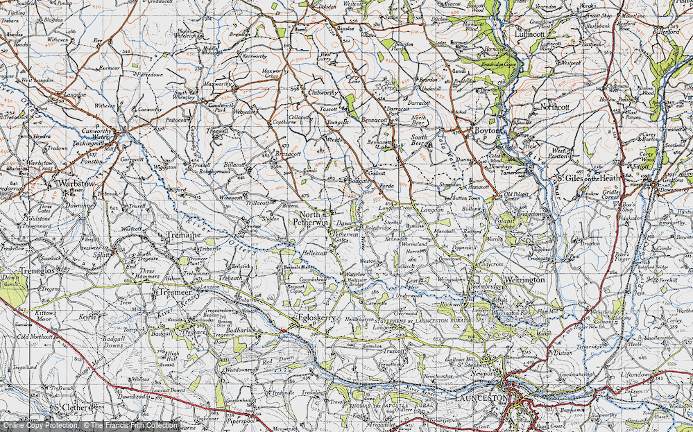 Old Map of Historic Map covering Langdon Cross in 1946