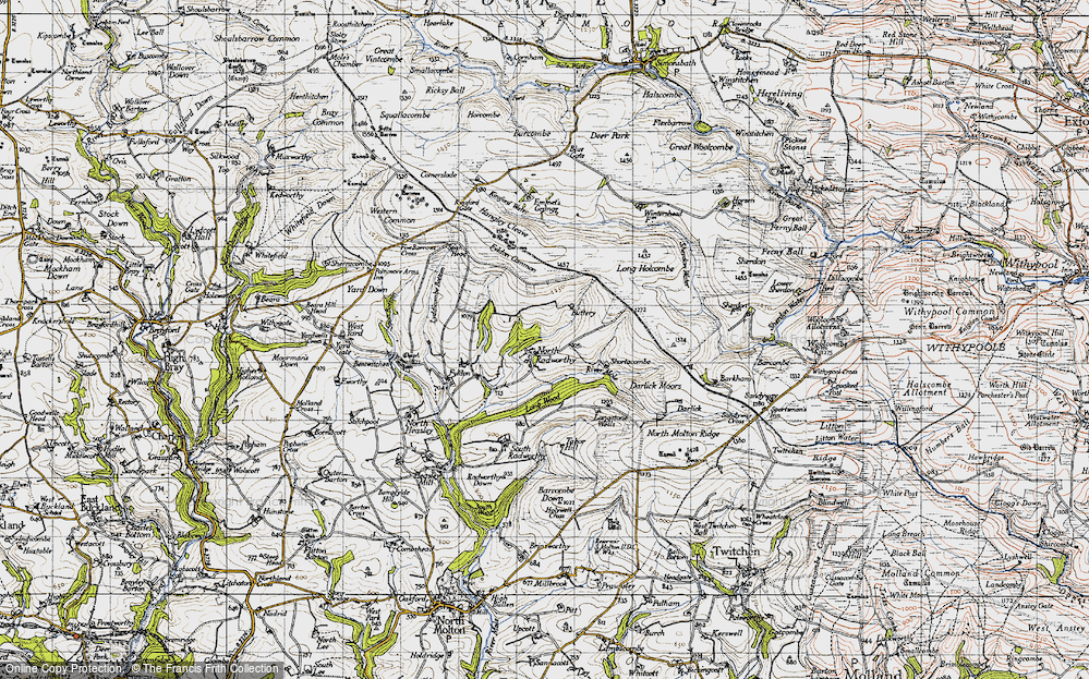 Old Map of Historic Map covering Western Common in 1946