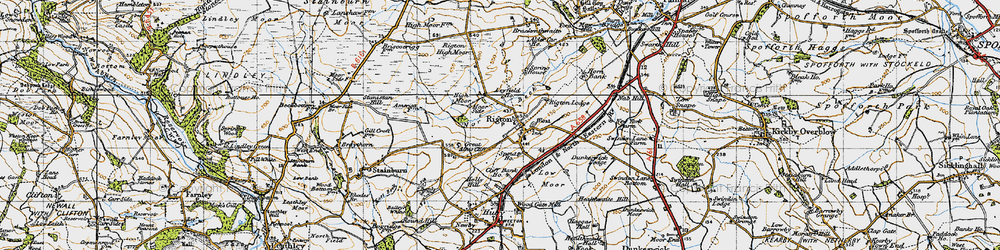 Old map of Almscliff Crag in 1947