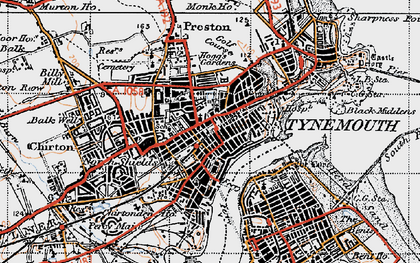 Old map of North Shields in 1947