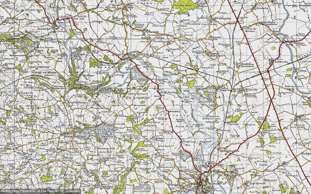 Old Map of Historic Map covering Lightwater Valley in 1947