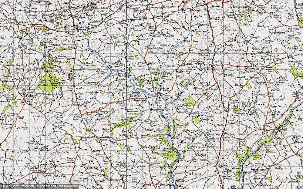Old Map of Historic Map covering Affaland Wood in 1946