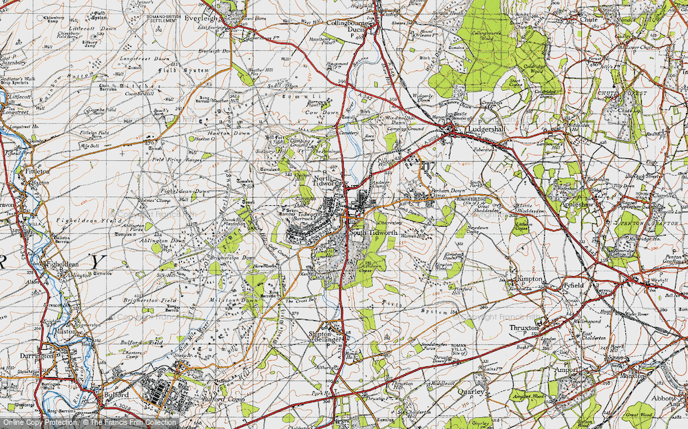 Old Map of Historic Map covering Tidworth Ho in 1940