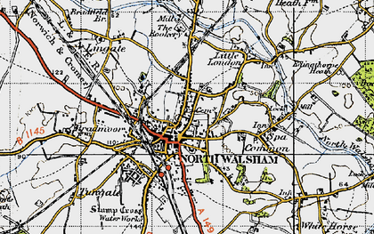 Old map of North Walsham in 1945