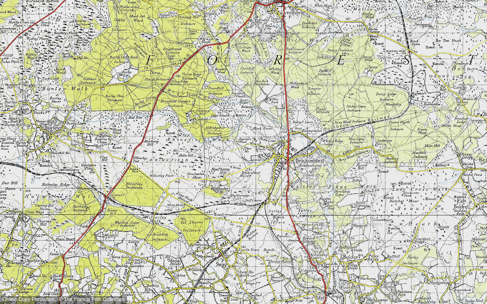 Old Map of Historic Map covering Aldridgehill Inclosure in 1940