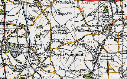 Old map of North Wingfield in 1947
