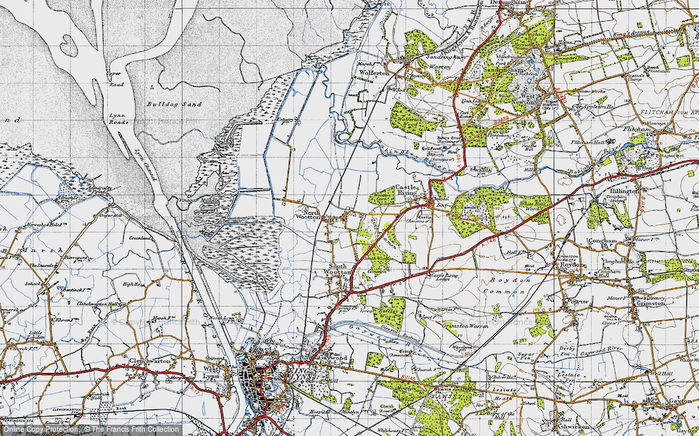 Old Map of Historic Map covering Ling Common in 1946