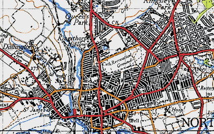 Old map of Northampton in 1946