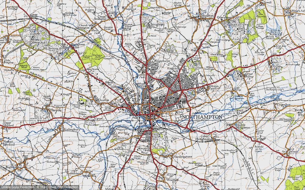 Map of Northampton 1946 Francis Frith