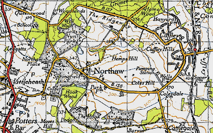 Old map of Northaw in 1946