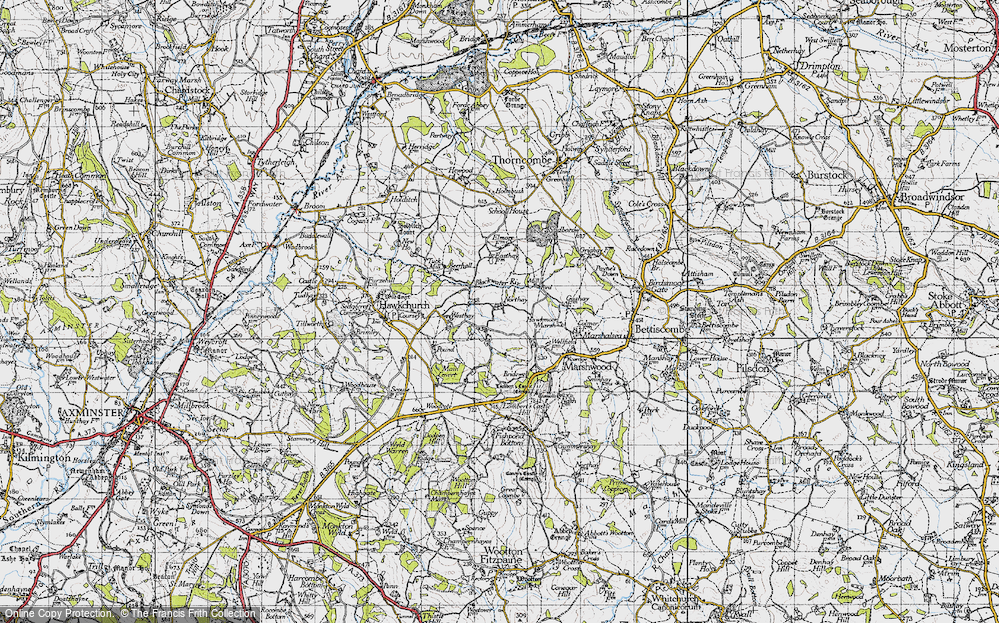 Old Map of Historic Map covering Westhay in 1945