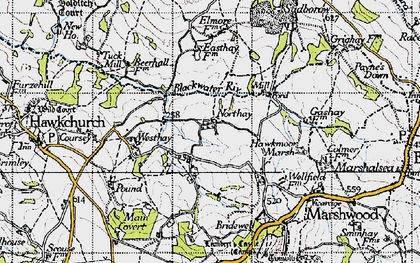 Old map of Westhay in 1945