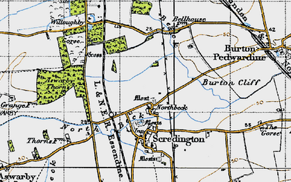 Old map of Aswarby Thorns in 1946
