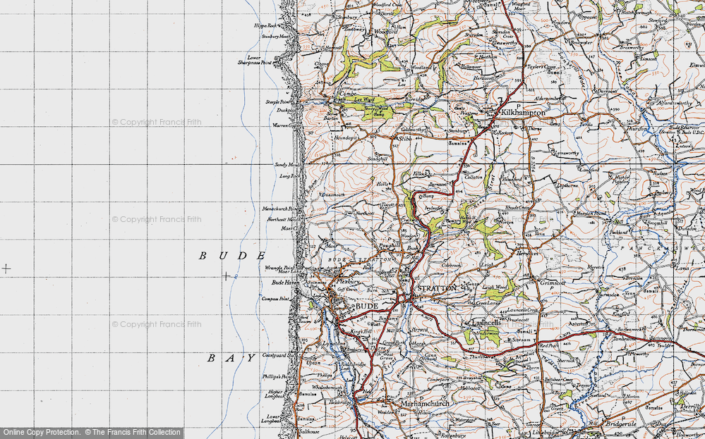 Old Map of Historic Map covering Tiscott in 1946