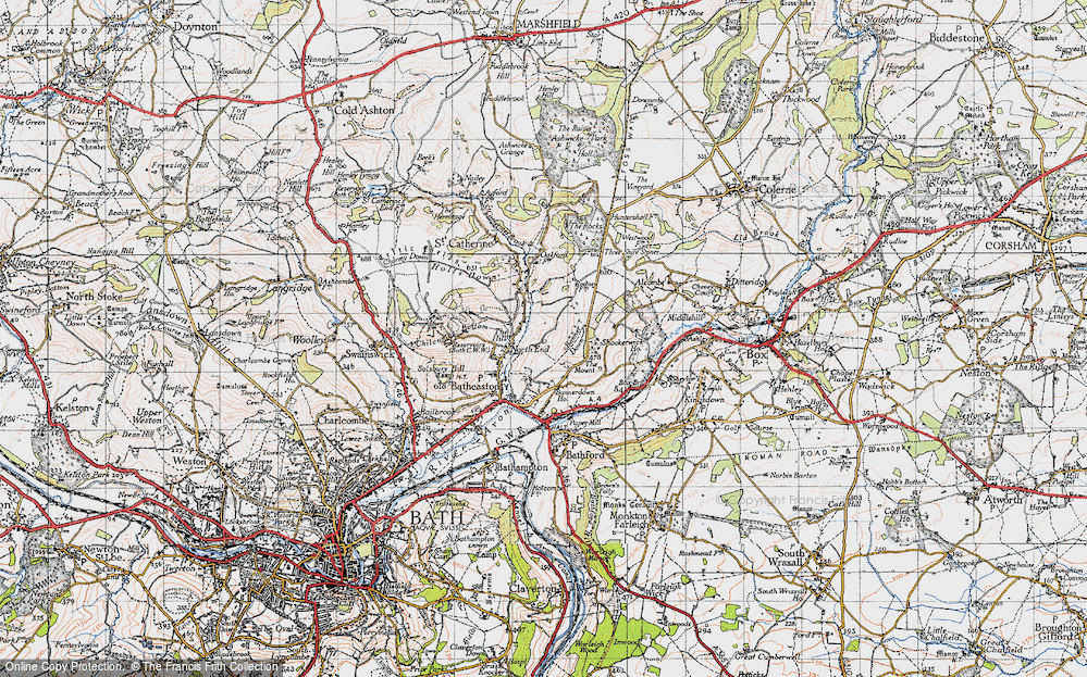 Old Map of Historic Map covering Banner Down in 1946