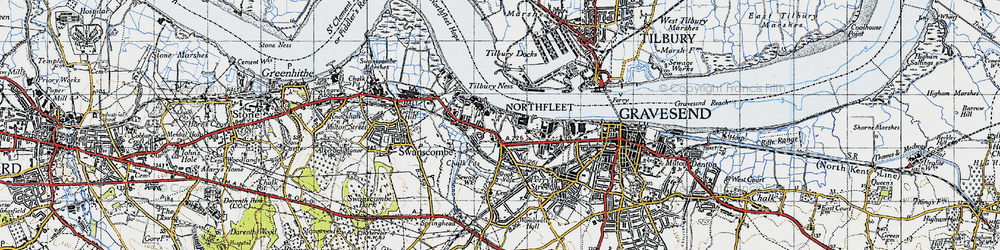 Old map of Tilbury Ness in 1946