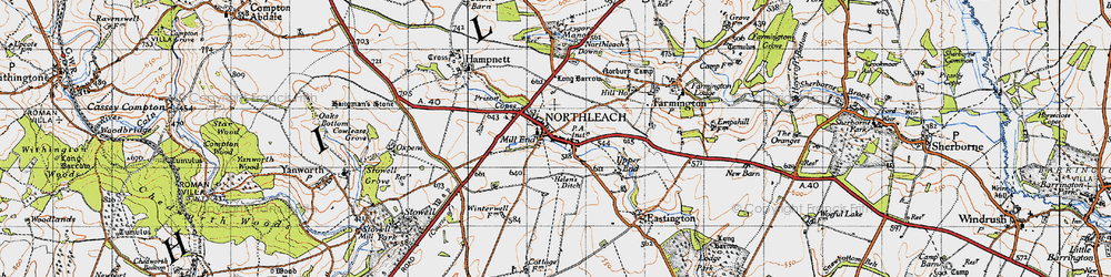 Old map of Northleach in 1946