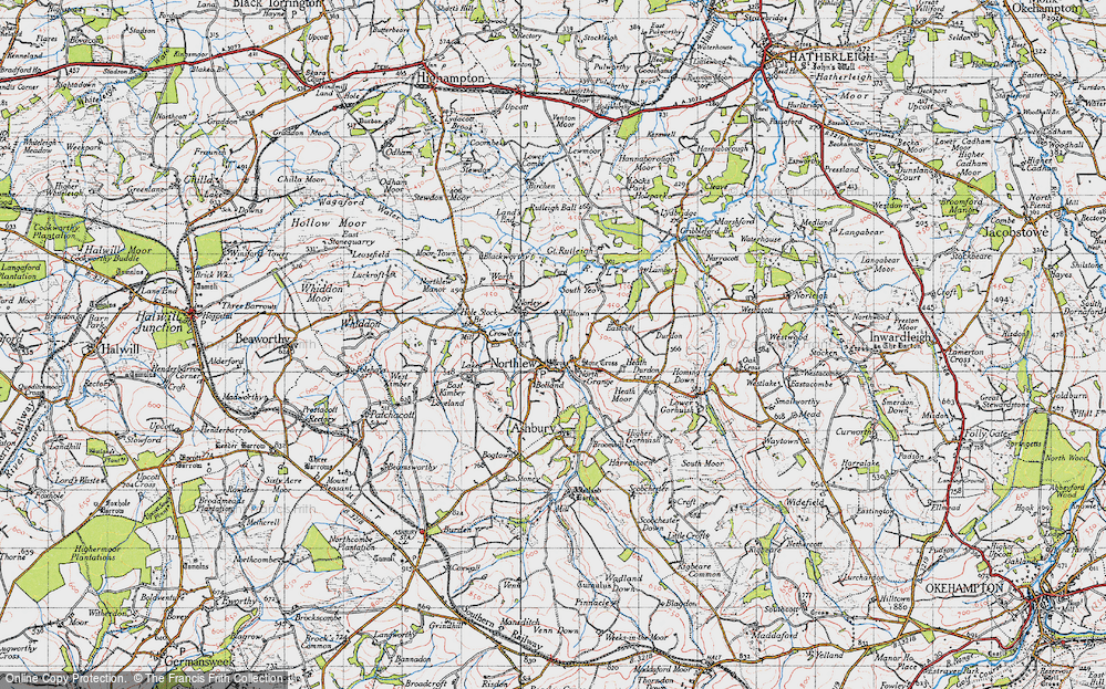 Old Map of Northlew, 1946 in 1946