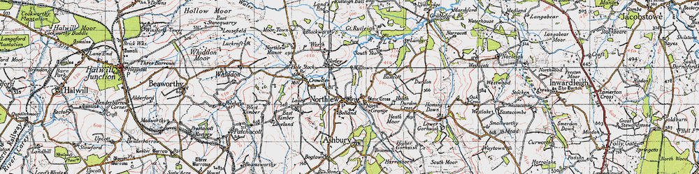 Old map of Northlew in 1946