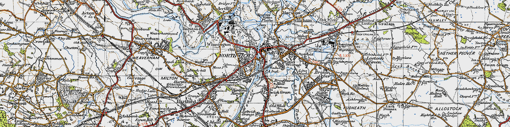 Old map of Northwich in 1947