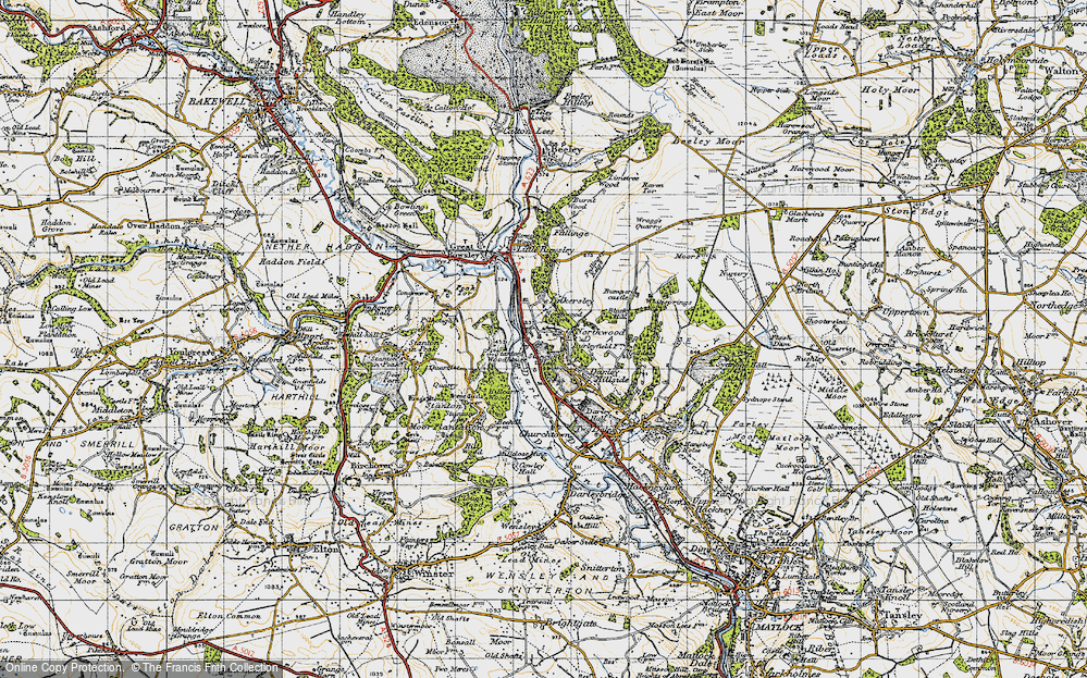 Old Map of Historic Map covering Tinkersley in 1947