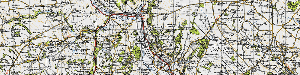 Old map of Tinkersley in 1947