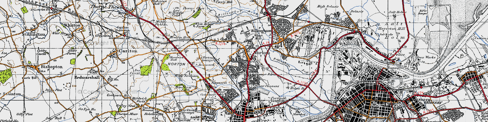 Old map of Norton in 1947