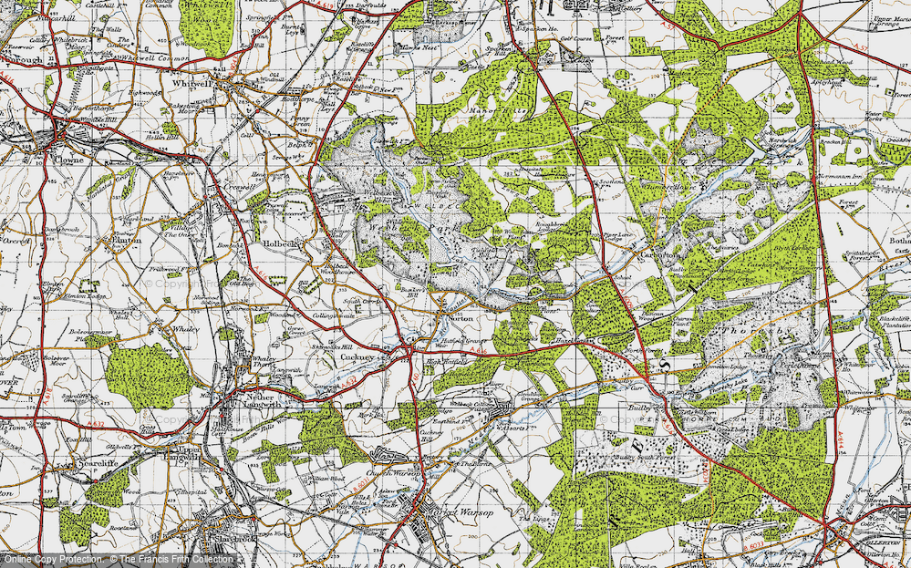 Old Map of Historic Map covering Wood Barn Plantn in 1947
