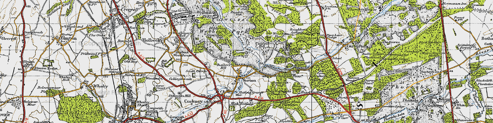 Old map of Wood Barn Plantn in 1947