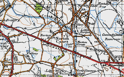 Old map of Norton Canes in 1946