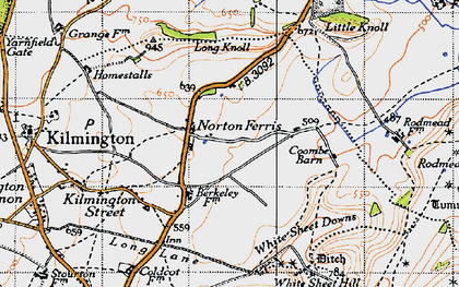 Old map of White Sheet Downs in 1946