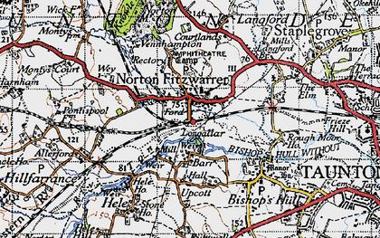 Old map of Norton Fitzwarren in 1946