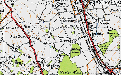 Old map of Norton Green in 1946