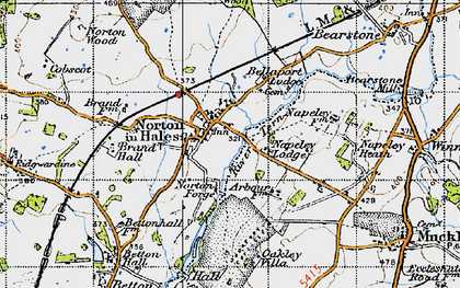 Old map of Norton in Hales in 1946