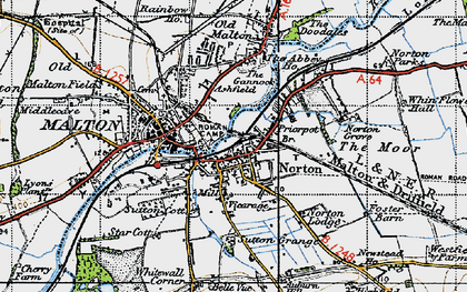 Old map of Norton-on-Derwent in 1947
