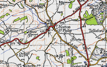 Old map of Norton St Philip in 1946