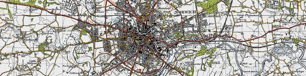 Old map of Norwich in 1945