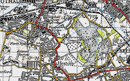 Old map of Norwood Green in 1945