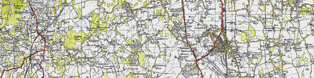 Old map of Wrays in 1940