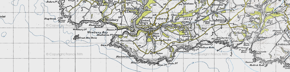 Old map of Worswell Barton in 1946