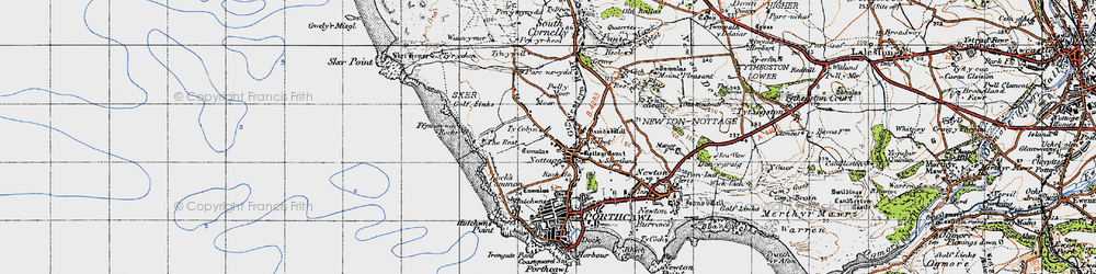 Old map of Nottage in 1947
