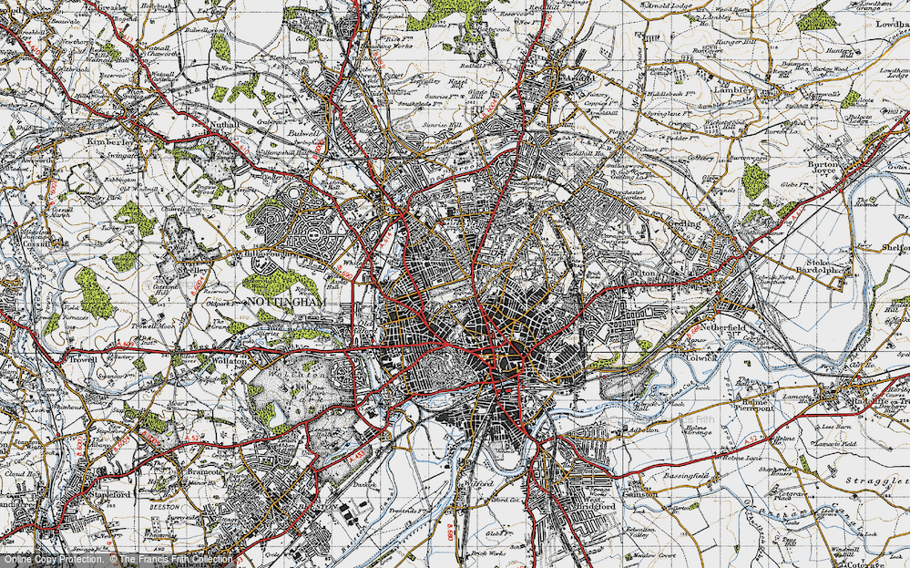 Old Map of Nottingham, 1946 in 1946