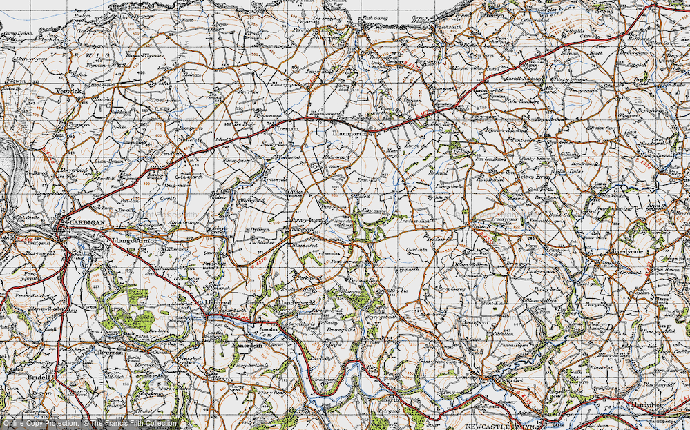 Old Map of Historic Map covering Allt-y-cadno in 1947